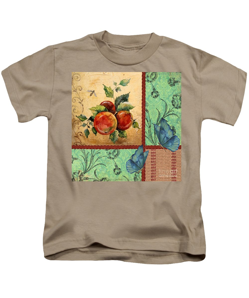 Digital Art Kids T-Shirt featuring the painting Apple Tapestry-jp2203 by Jean Plout