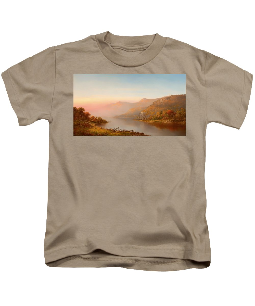Husdon River Kids T-Shirt featuring the painting Autumn On The Hudson by Mountain Dreams