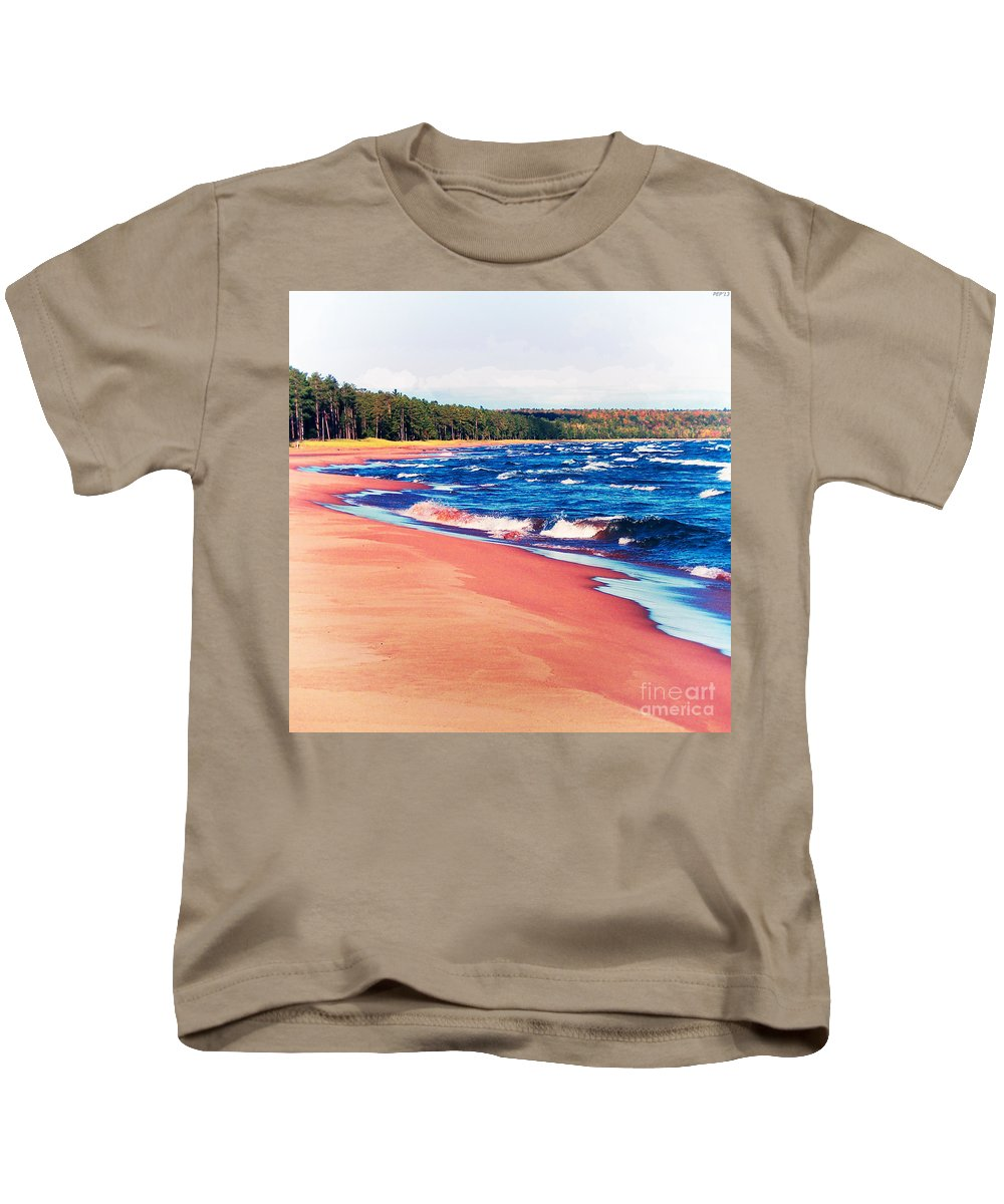 Photography Kids T-Shirt featuring the photograph Autumn On Lake Superior by Phil Perkins
