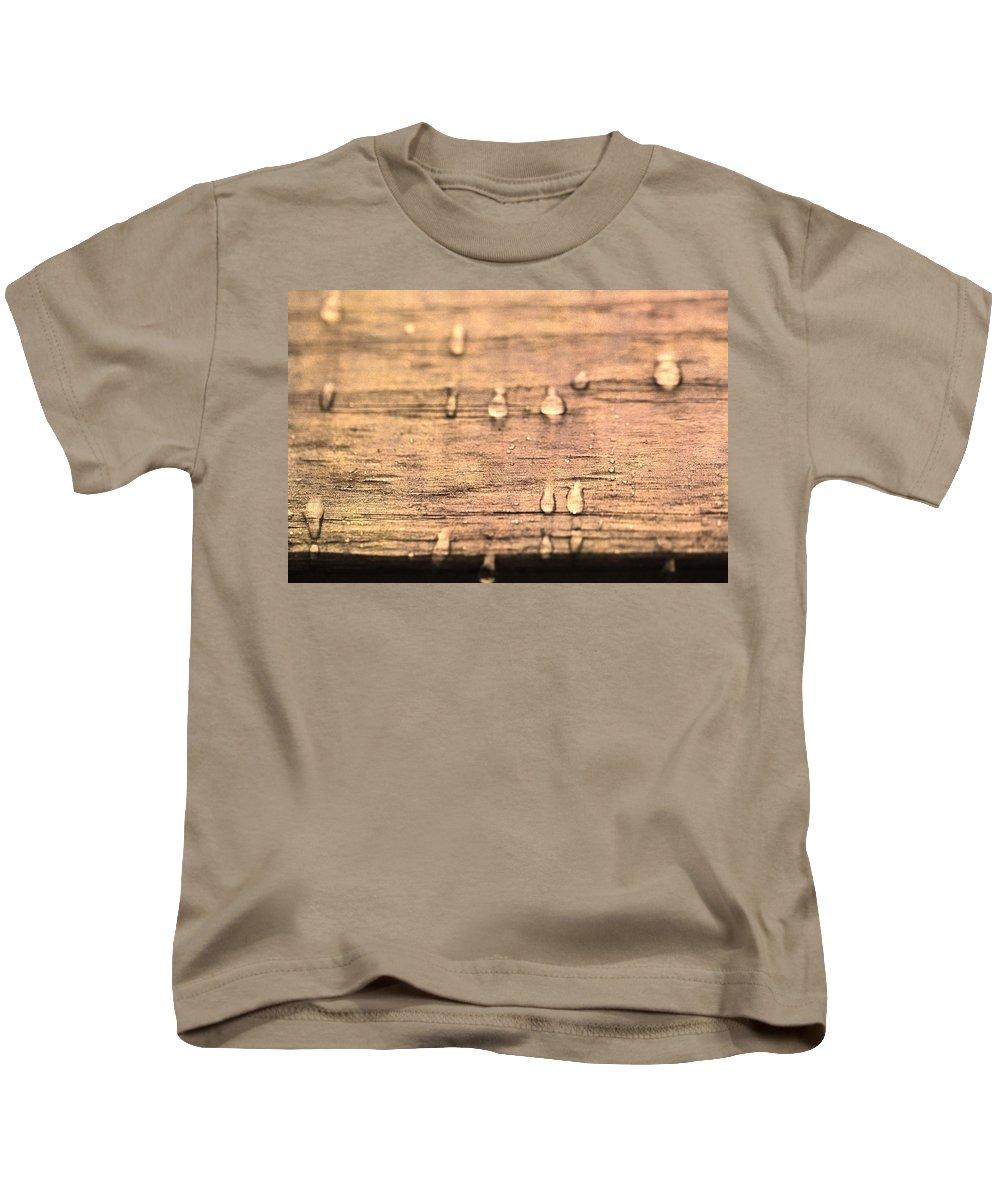 Autumn Rain On Wood Kids T-Shirt featuring the photograph Autumn Rain On Wood by Dan Sproul