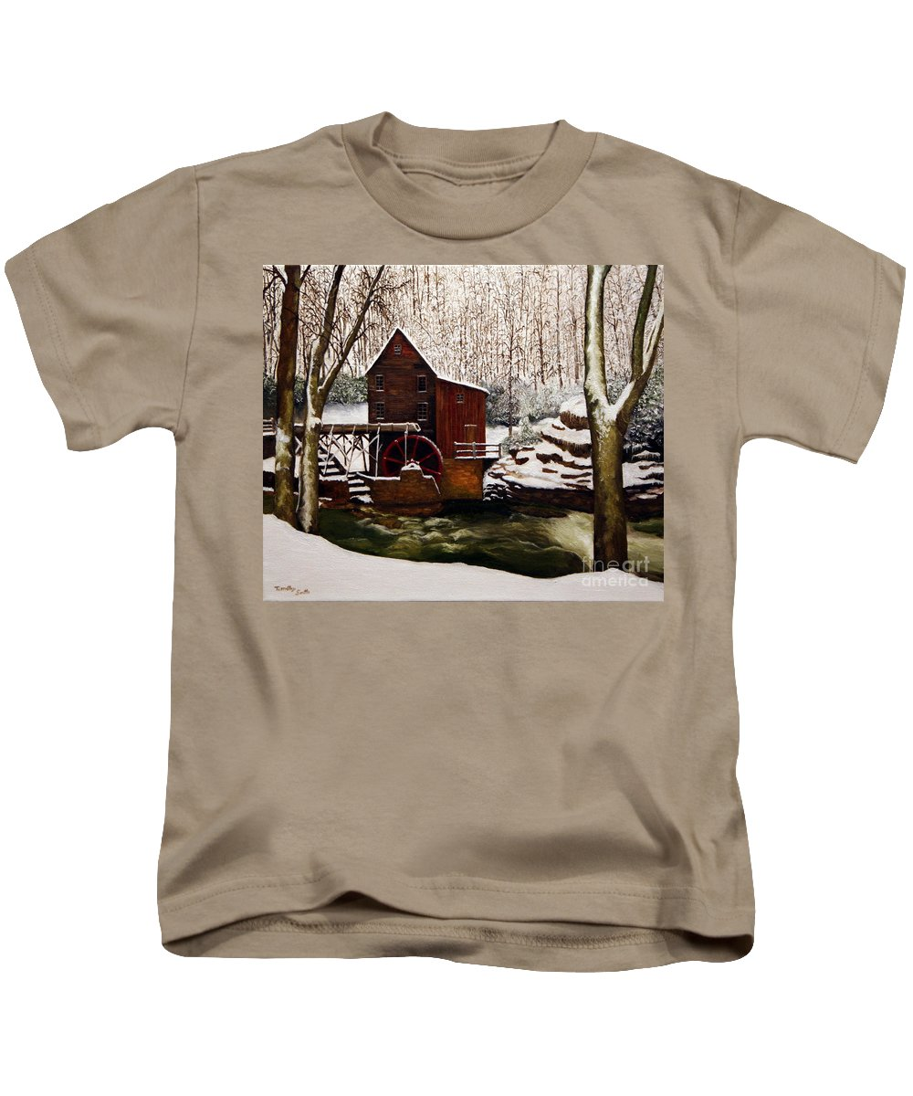 Landscape Kids T-Shirt featuring the painting Babcock Mill In The Snow by Timothy Smith