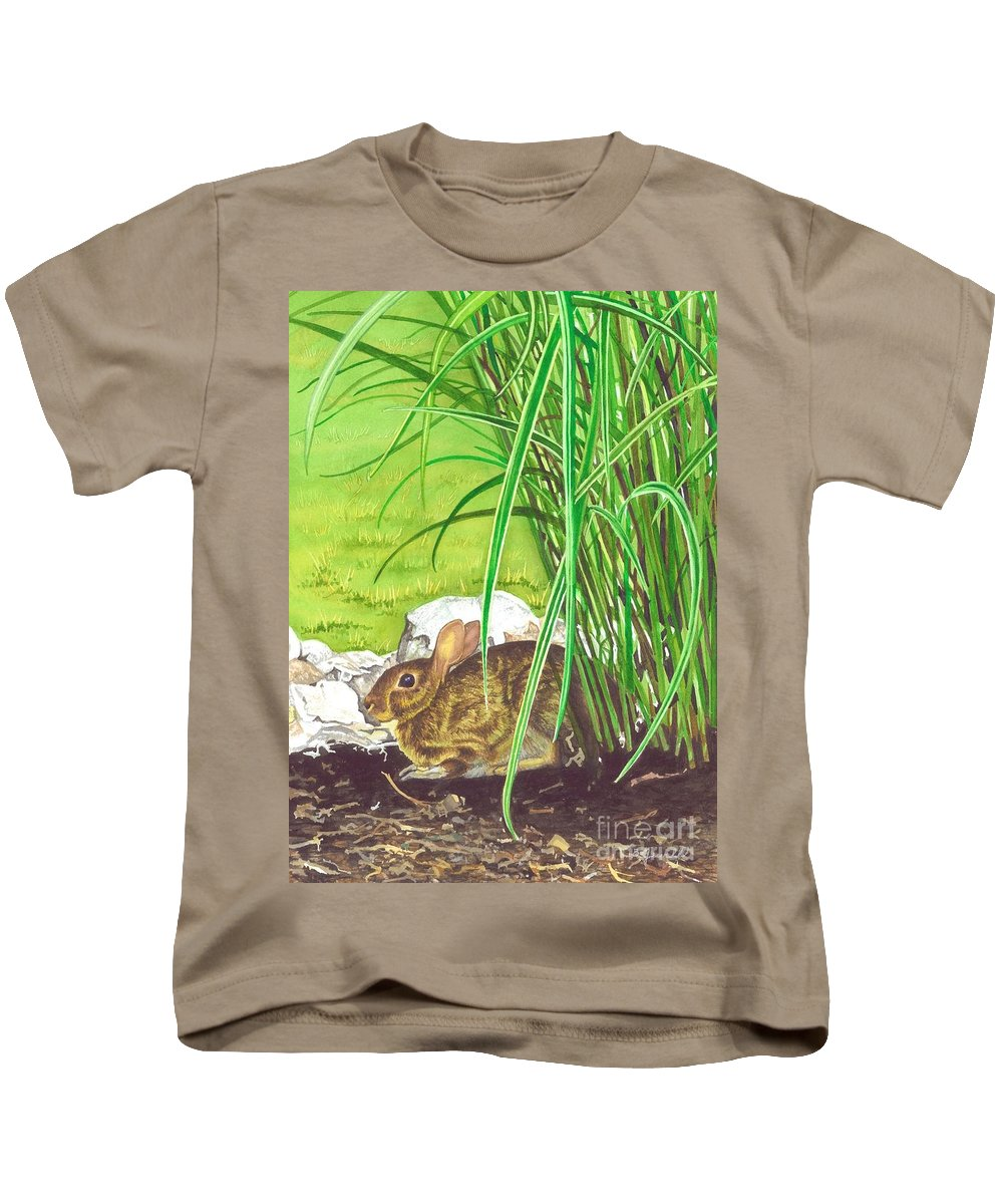 Water Color Paintings Kids T-Shirt featuring the painting Backyard Bunny by Barbara Jewell