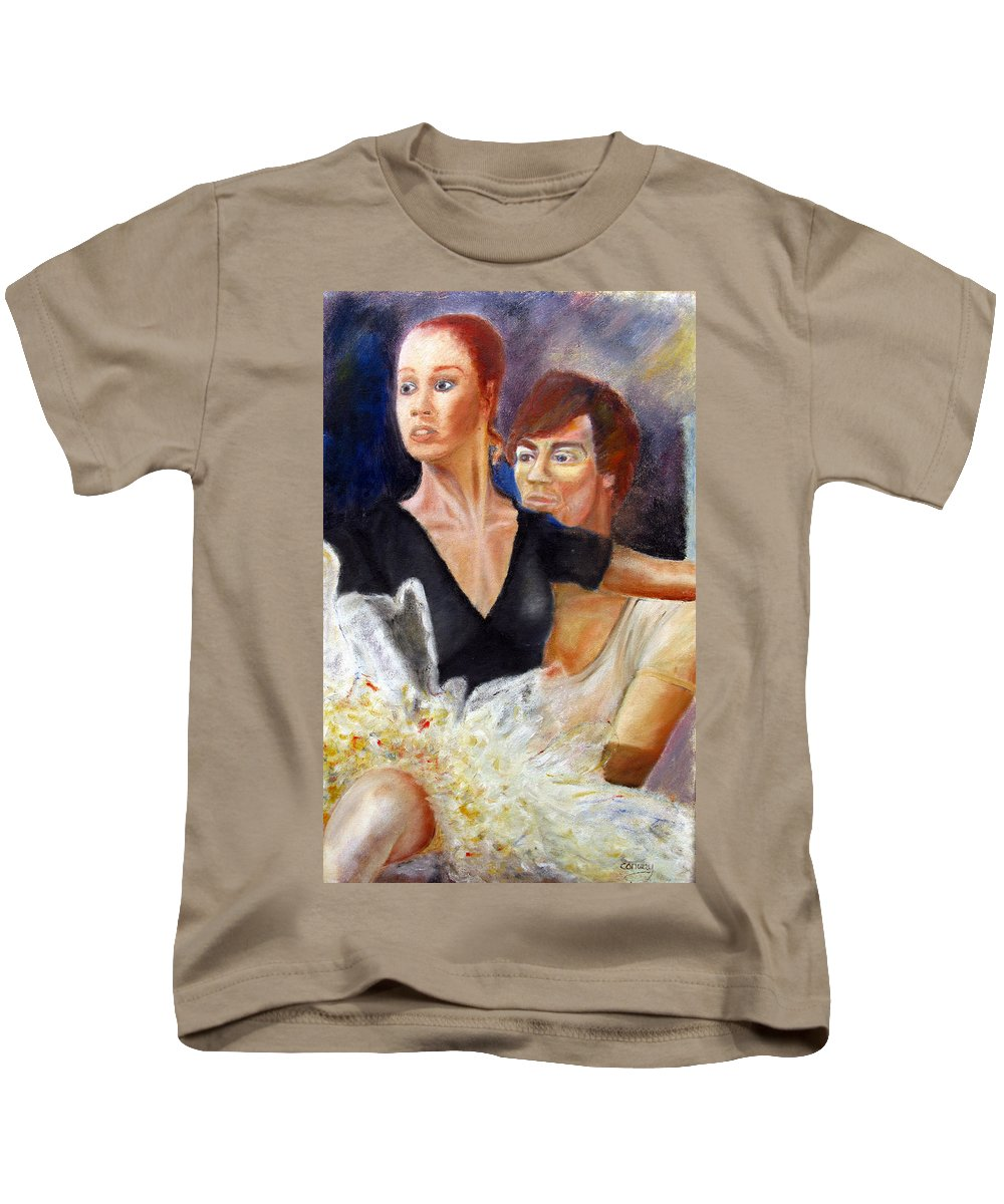 Ballet Kids T-Shirt featuring the painting Ballet Dancers Rehearse For La Bayadere by Tom Conway