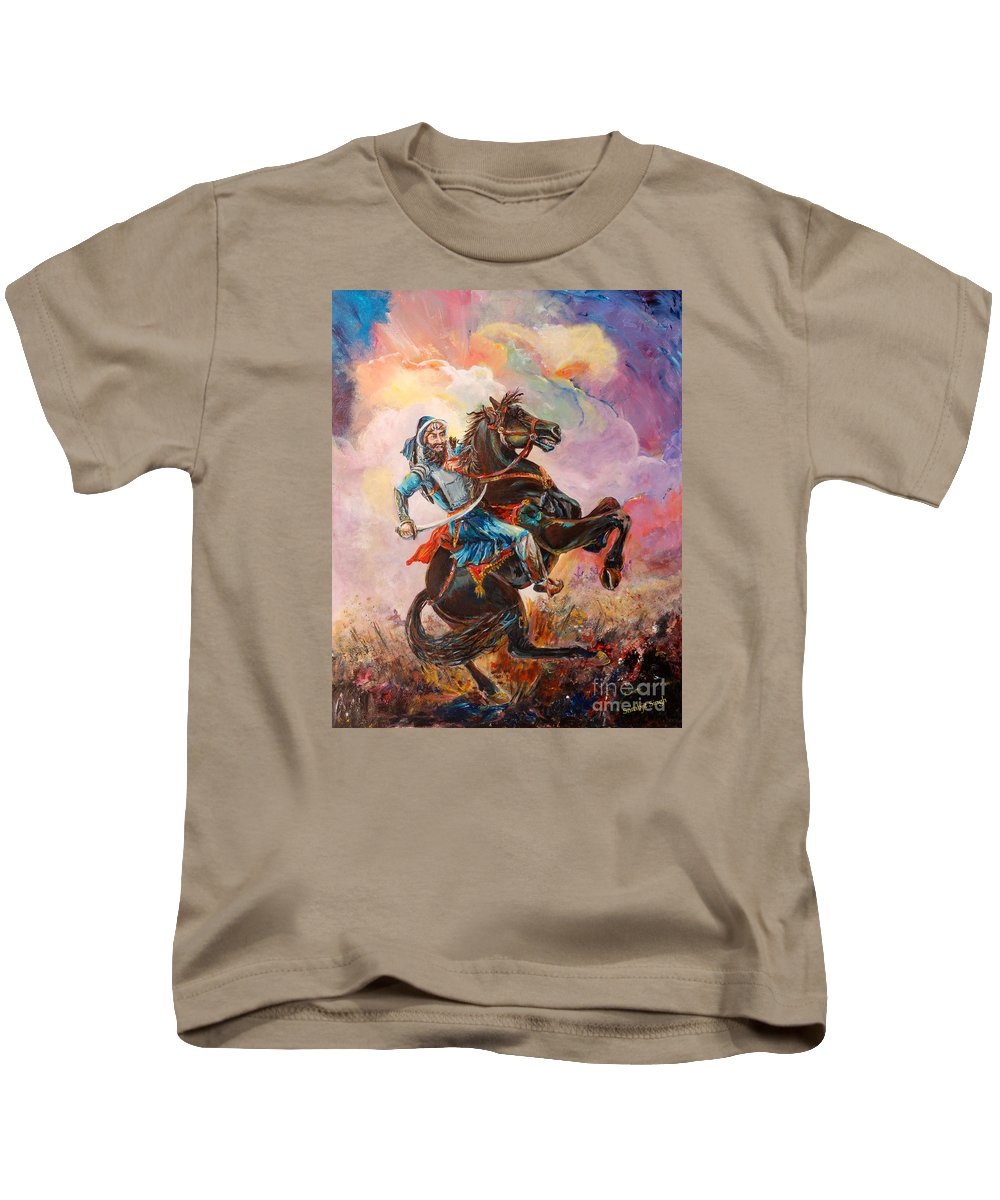 Landscape Kids T-Shirt featuring the painting Banda Singh Bahadur by Sarabjit Singh