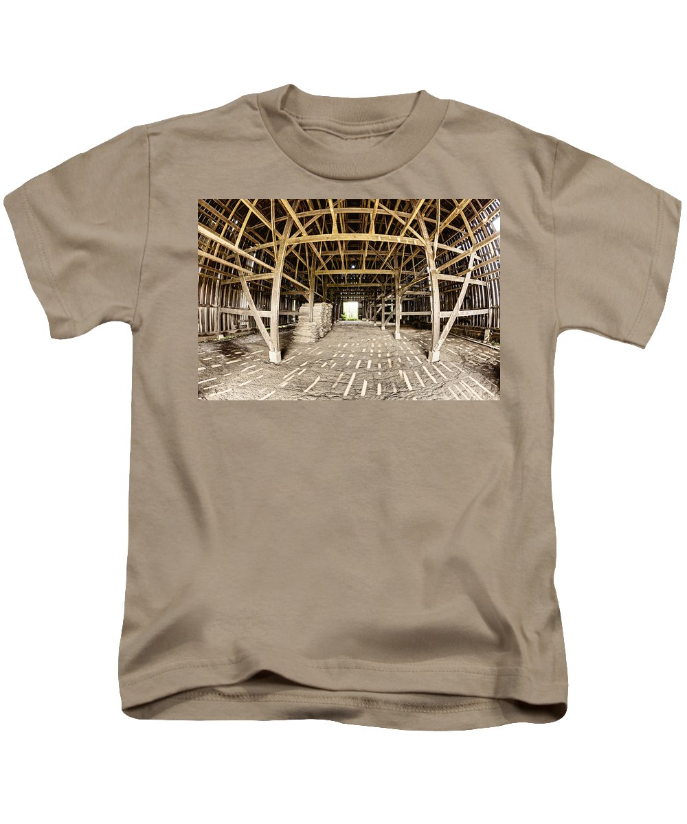 Barn Kids T-Shirt featuring the photograph Barn Interior by Alexey Stiop