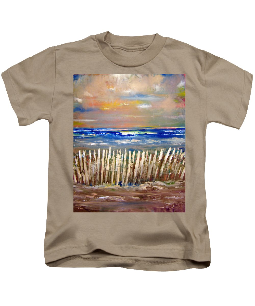 Fence Kids T-Shirt featuring the painting Beach Fence by Patricia Taylor