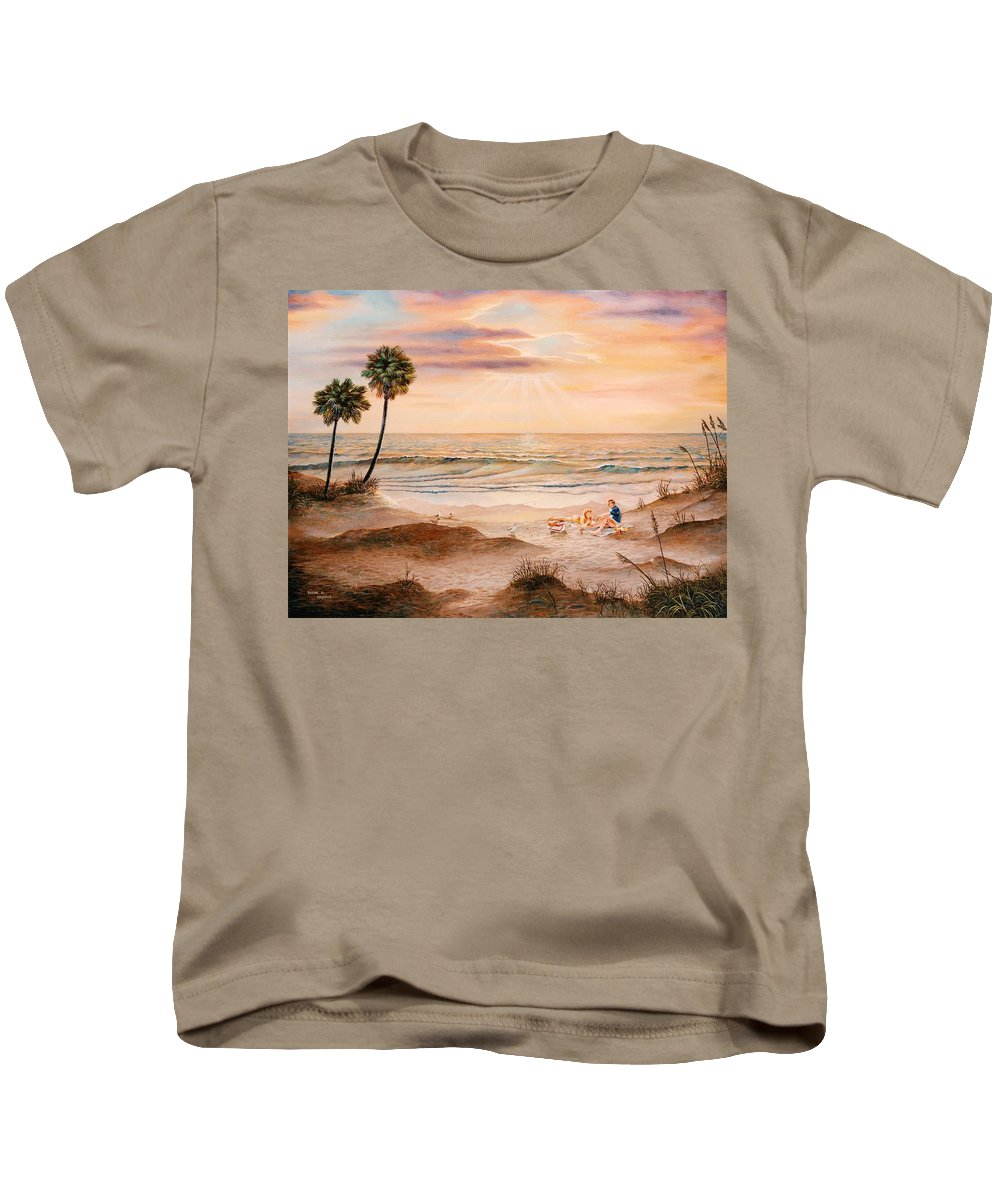 Beach Kids T-Shirt featuring the painting Beachcombers by Duane R Probus