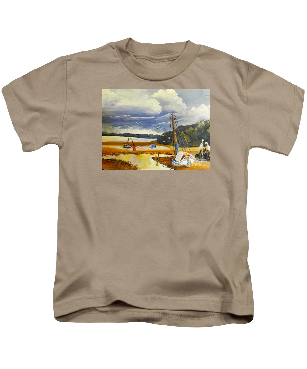 Impressionism Kids T-Shirt featuring the painting Beached Boat And Fishing Boat At Gippsland Lake by Pamela Meredith