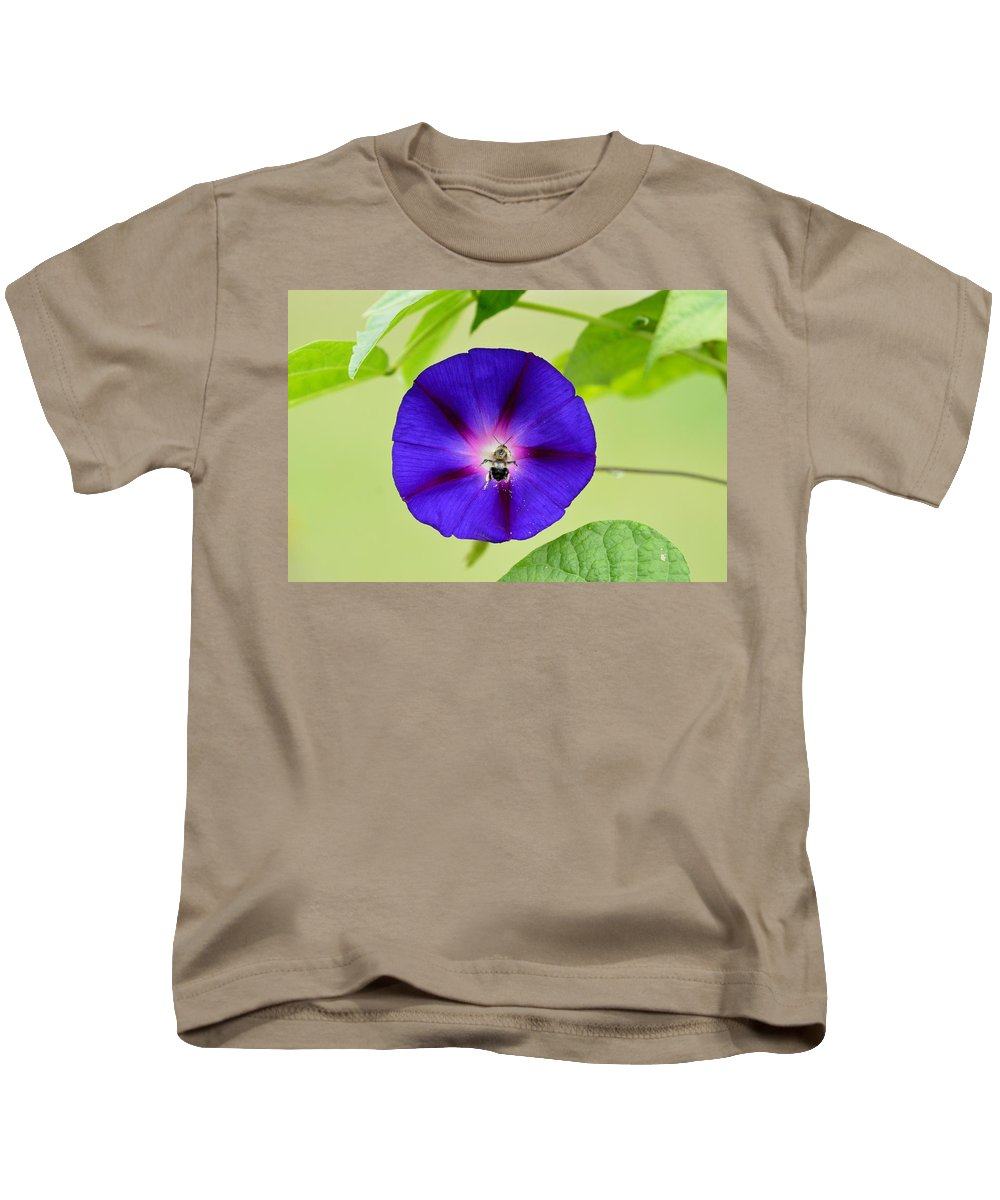 Morning Glory Kids T-Shirt featuring the photograph Bee Nirvana by Thomas Phillips