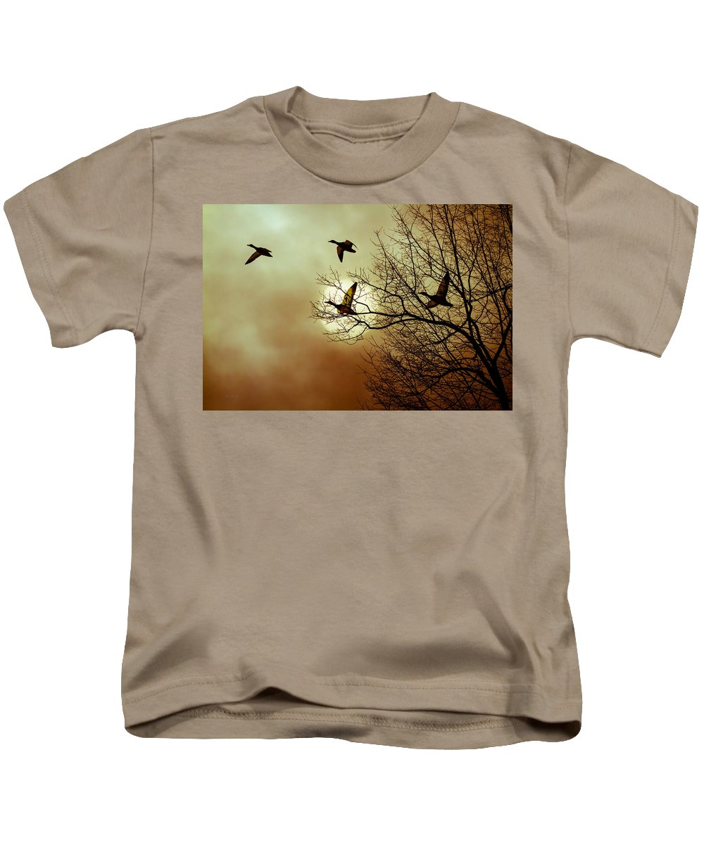 Duck Kids T-Shirt featuring the photograph Before A Winter Sky by Bob Orsillo