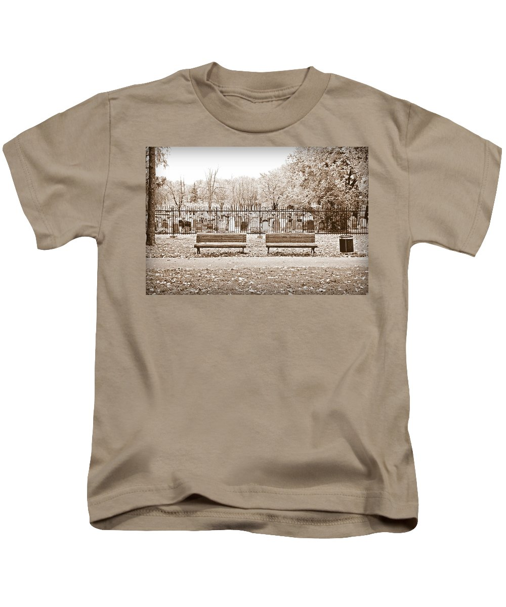 Bench Kids T-Shirt featuring the photograph Benches By The Cemetery In Sepia by Valentino Visentini