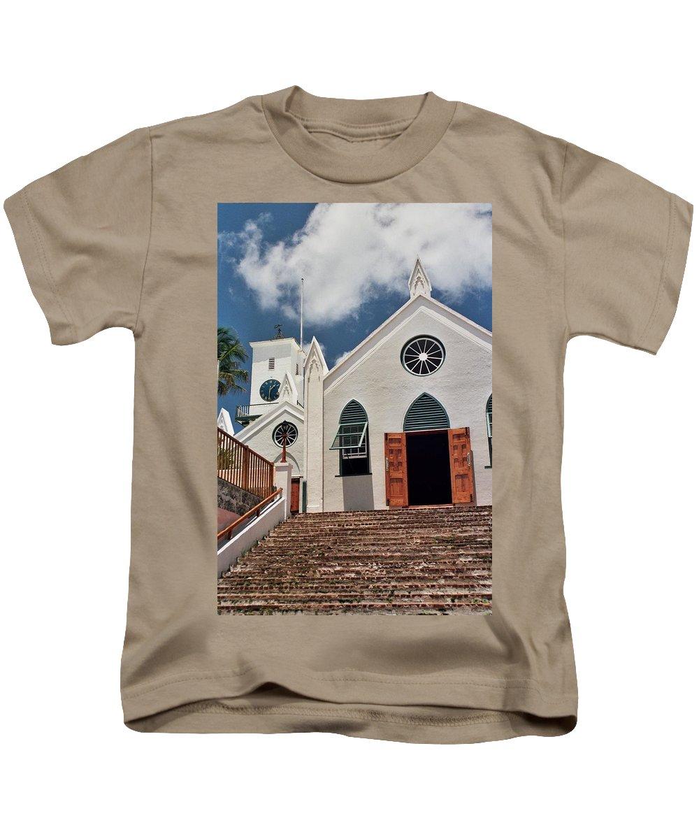 Bermuda Kids T-Shirt featuring the photograph Bermuda Church by Allen Beatty