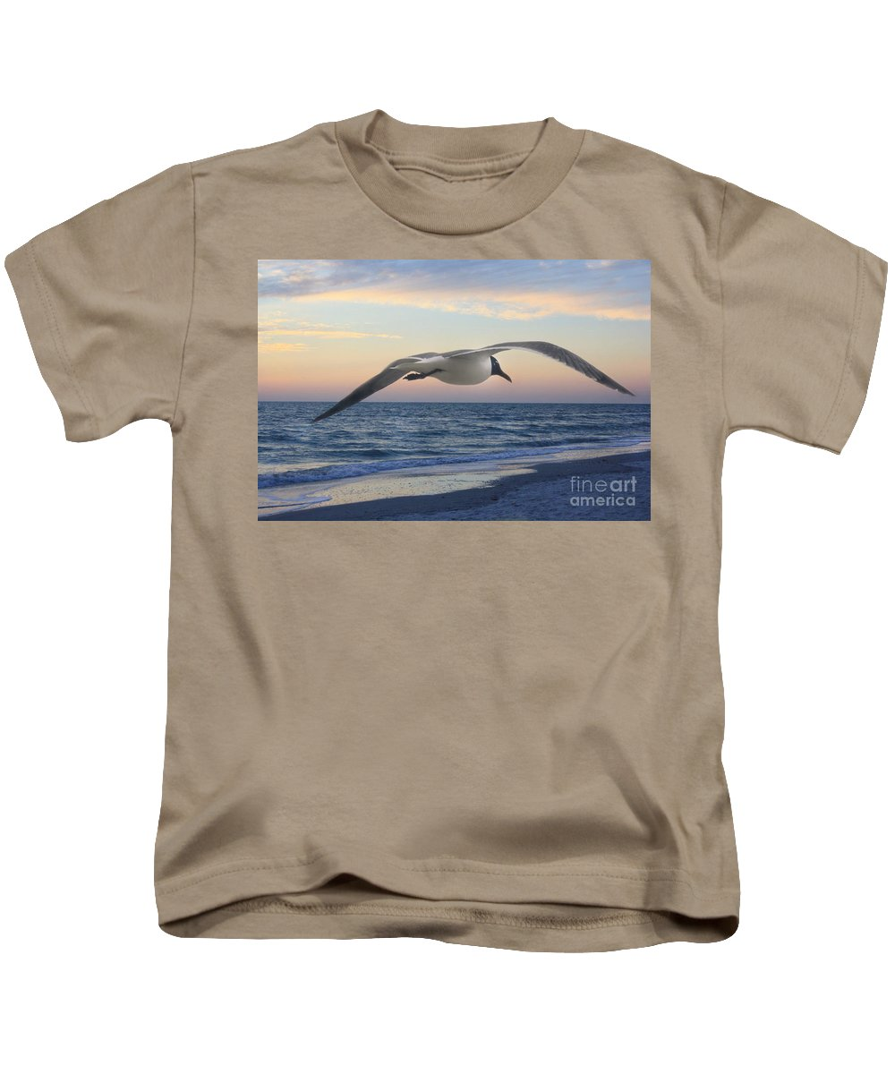 Seagull Kids T-Shirt featuring the photograph Between by Irina Davis