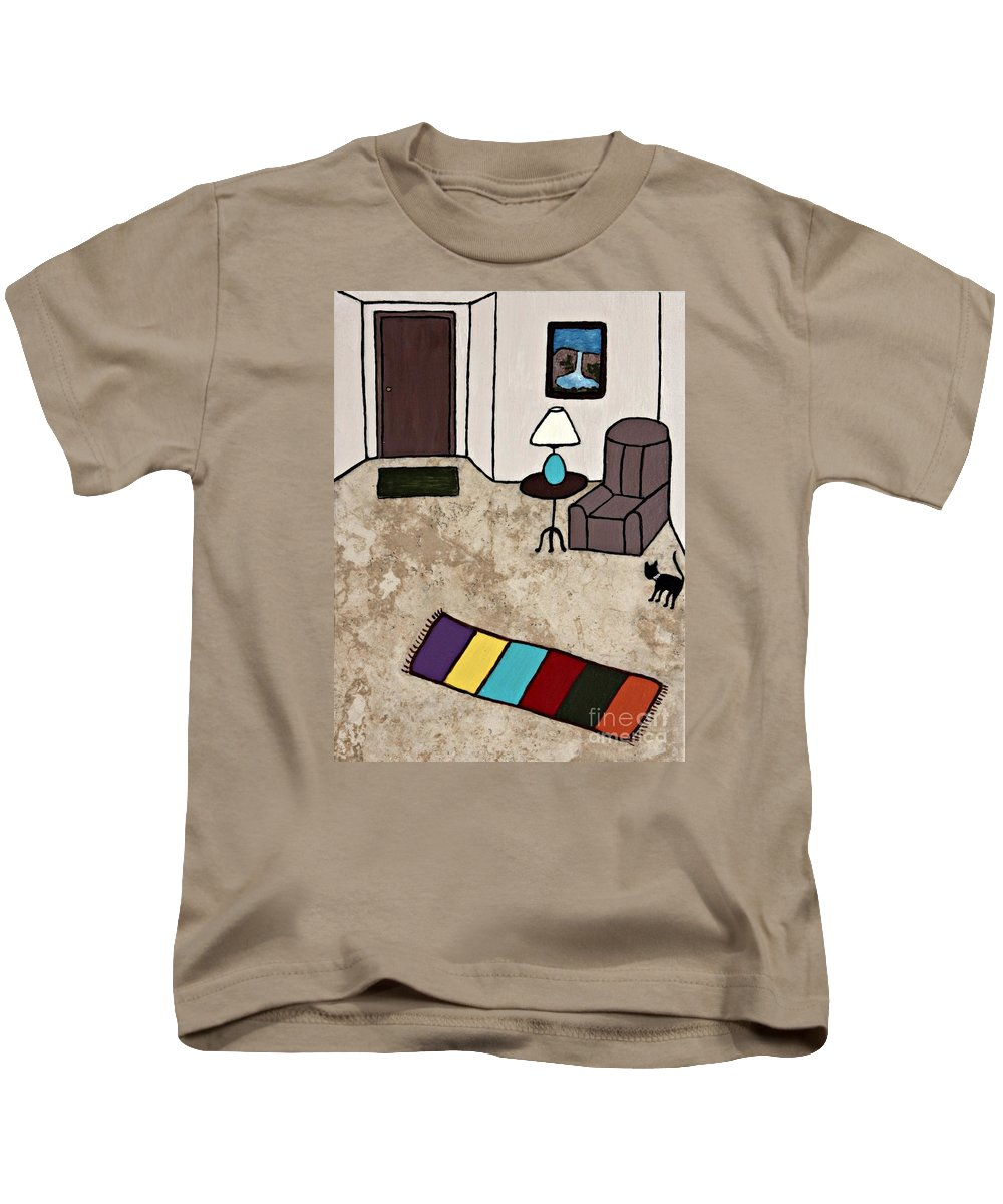 Folk Art Kids T-Shirt featuring the painting Essence Of Home - Black Cat Entering Living Room by Sheryl Young
