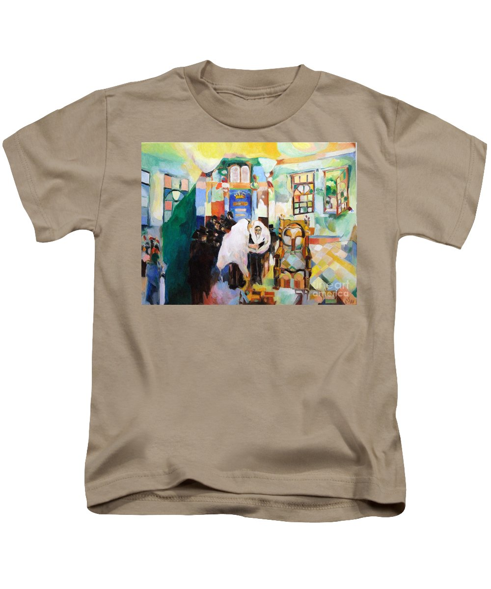 Kids T-Shirt featuring the painting Blessed Is He Who Has Come by David Baruch Wolk