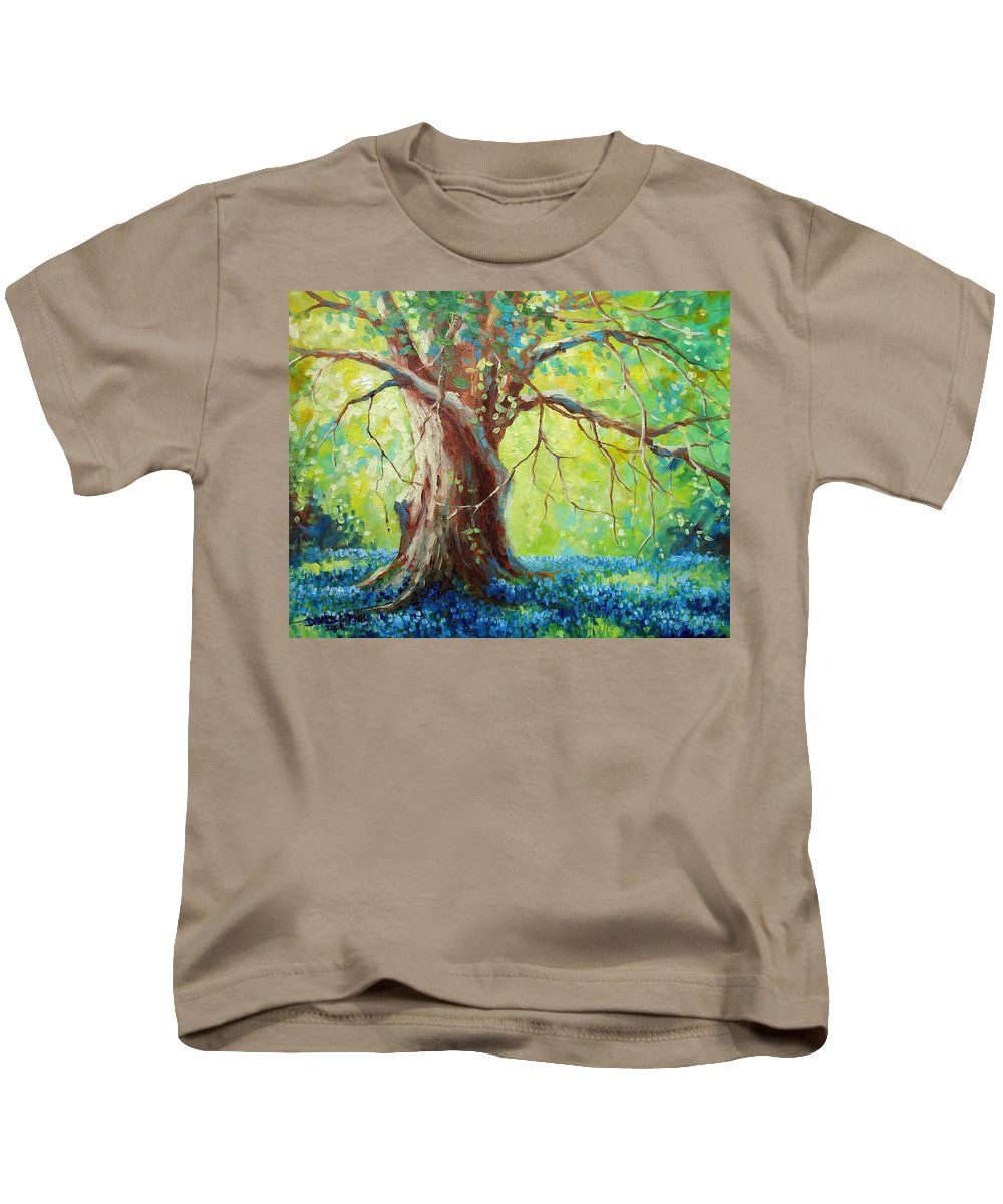 Bluebonnets Kids T-Shirt featuring the painting Bluebonnets Under The Oak by David G Paul
