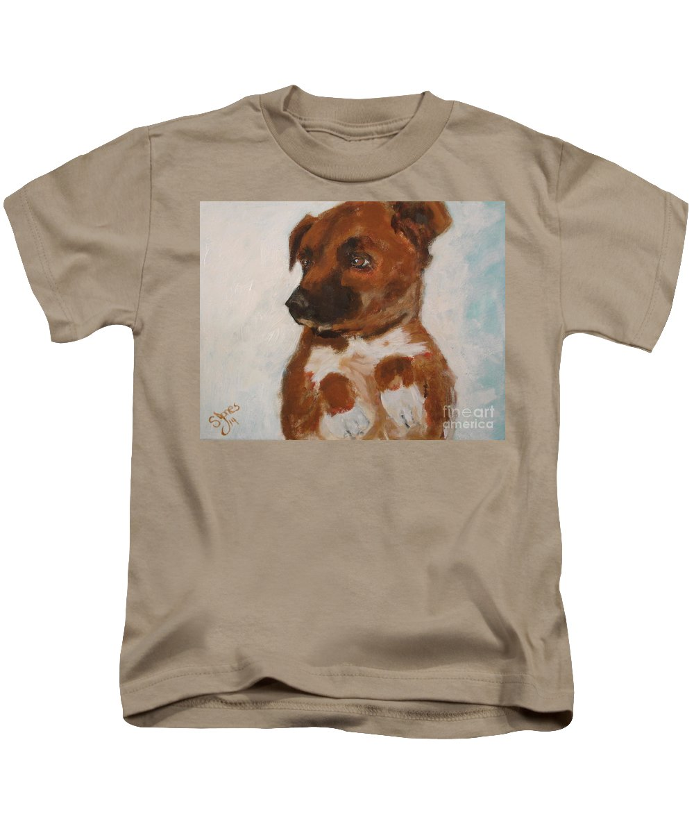 Dog Kids T-Shirt featuring the painting Bo Jack by Shelley Jones