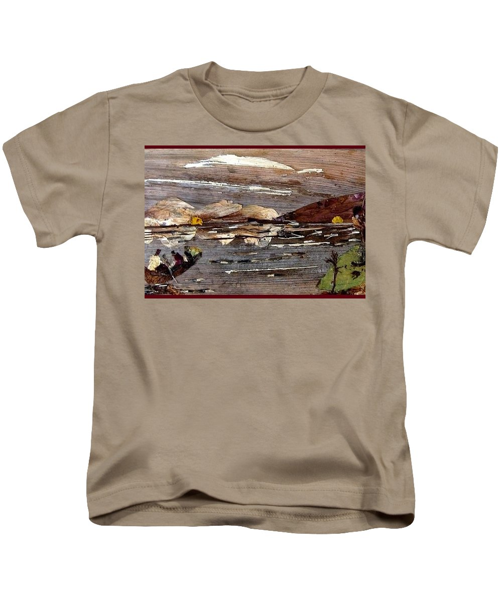 Boating Scene Kids T-Shirt featuring the mixed media Boating In River by Basant Soni