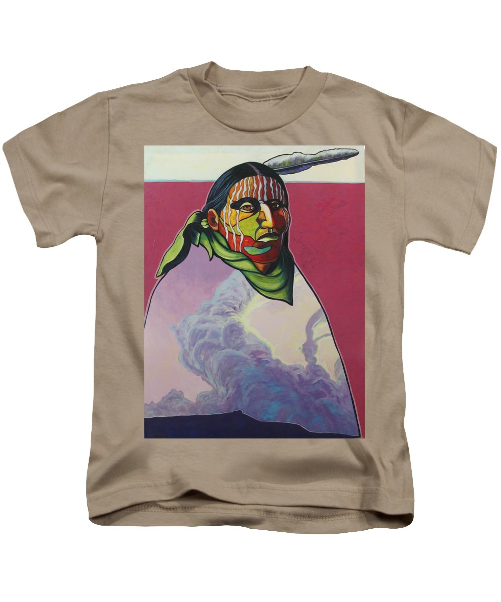 Native American Indian Kids T-Shirt featuring the painting Body And Soul by Joe Triano