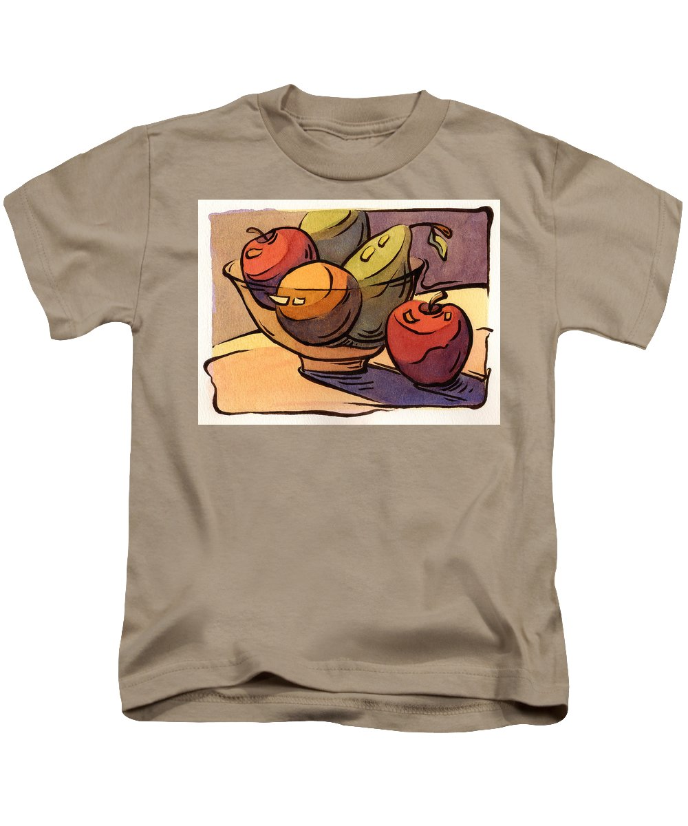 Radishes Kids T-Shirt featuring the painting Bowl Of Fruit 8 by Konnie Kim