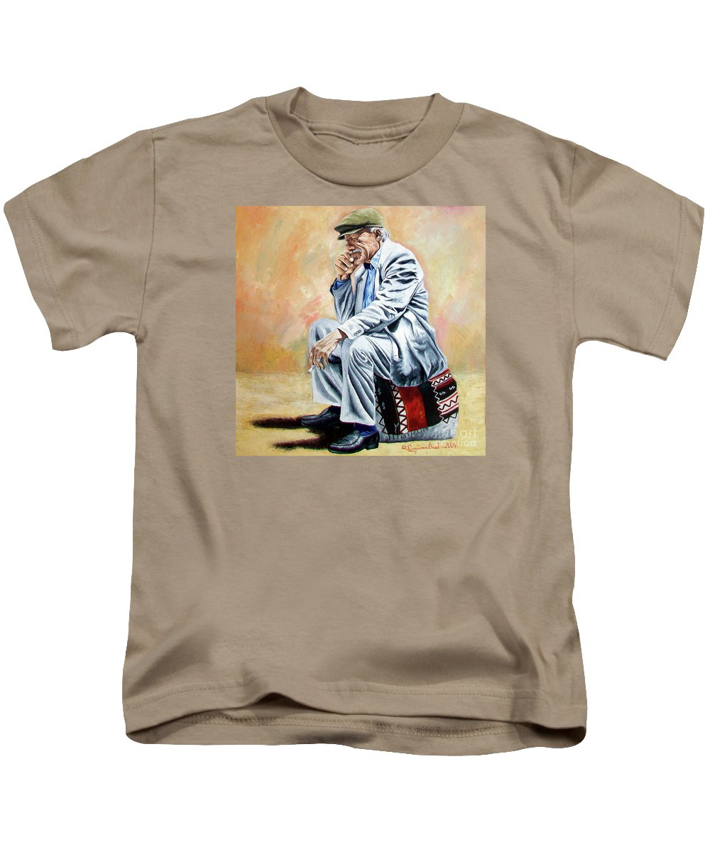 Figurative Kids T-Shirt featuring the painting Break For Smoking - Apeadero Para Fumar by Rezzan Erguvan-Onal
