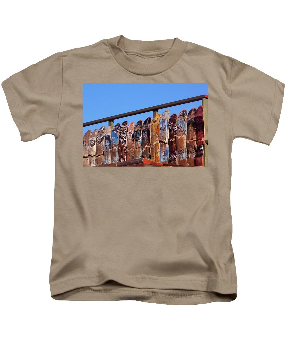 Cayucos Kids T-Shirt featuring the photograph Broken Skateboard Fence by Art Block Collections
