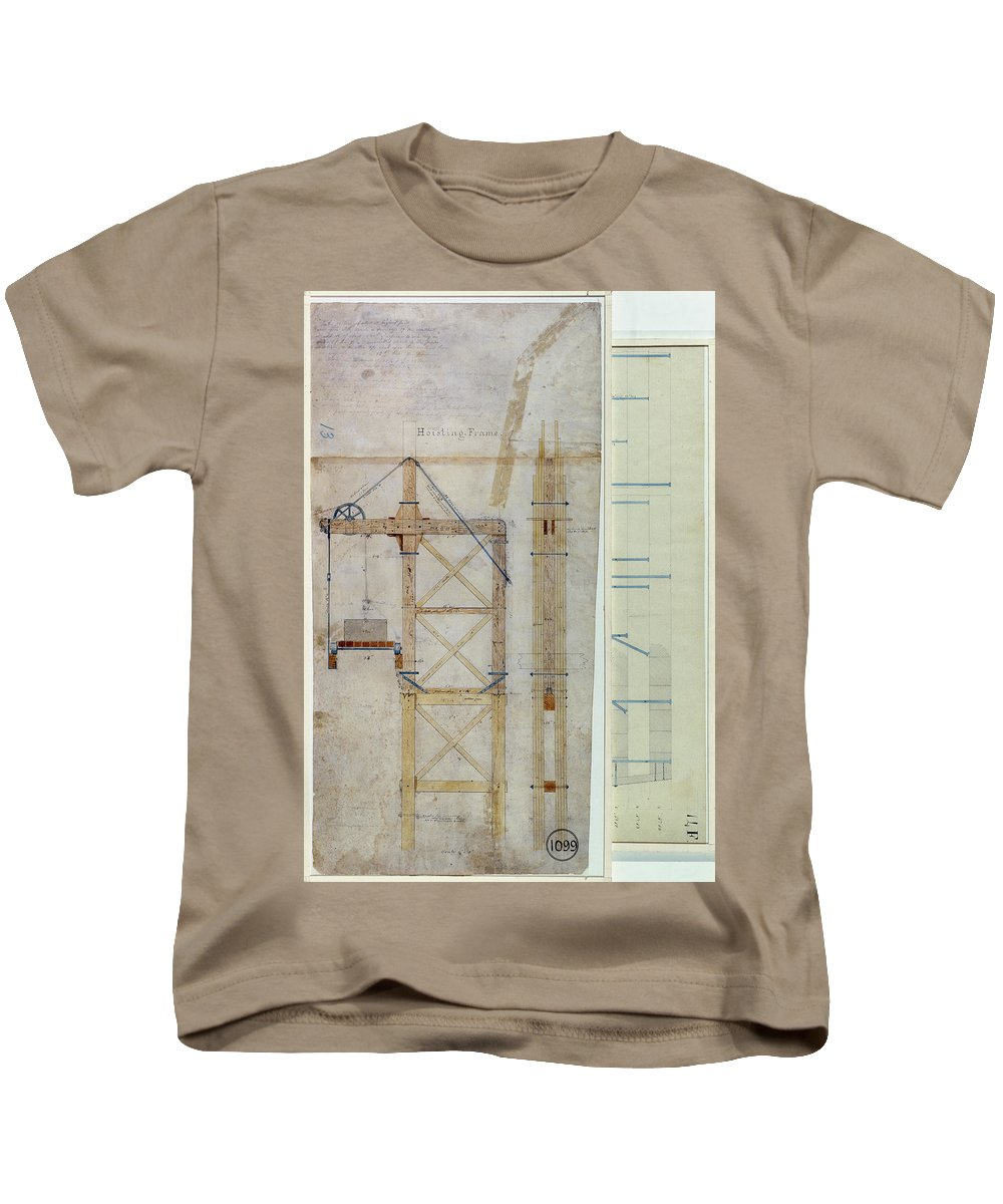 1880 Kids T-Shirt featuring the photograph Brooklyn Bridge: Diagram by Granger