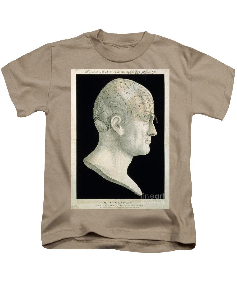 18th Century Kids T-Shirt featuring the photograph Bust Of Johan Spurzsheim by Granger