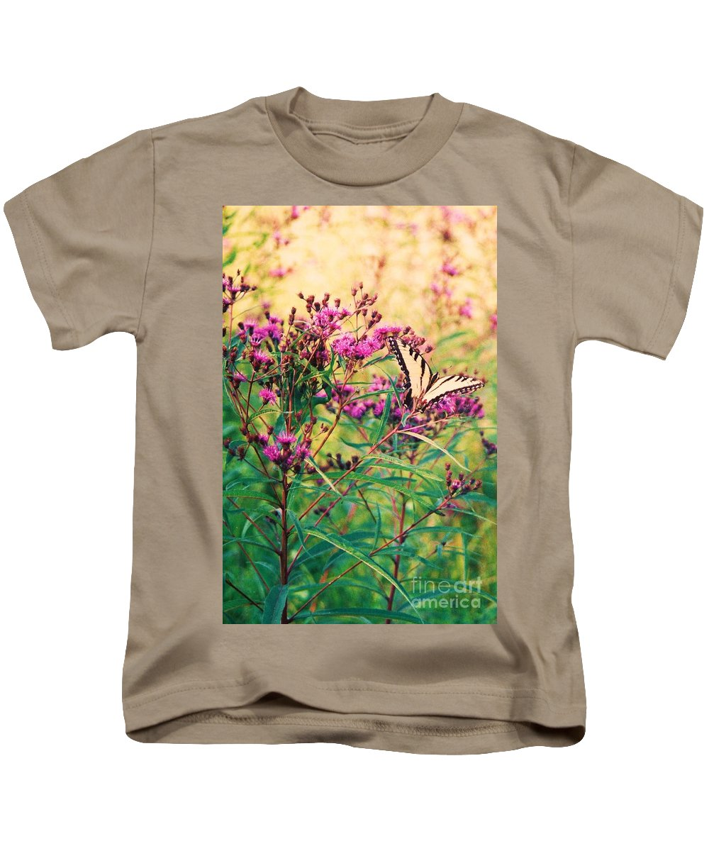 Floral Kids T-Shirt featuring the painting Butterfly Wildflower by Eric Schiabor
