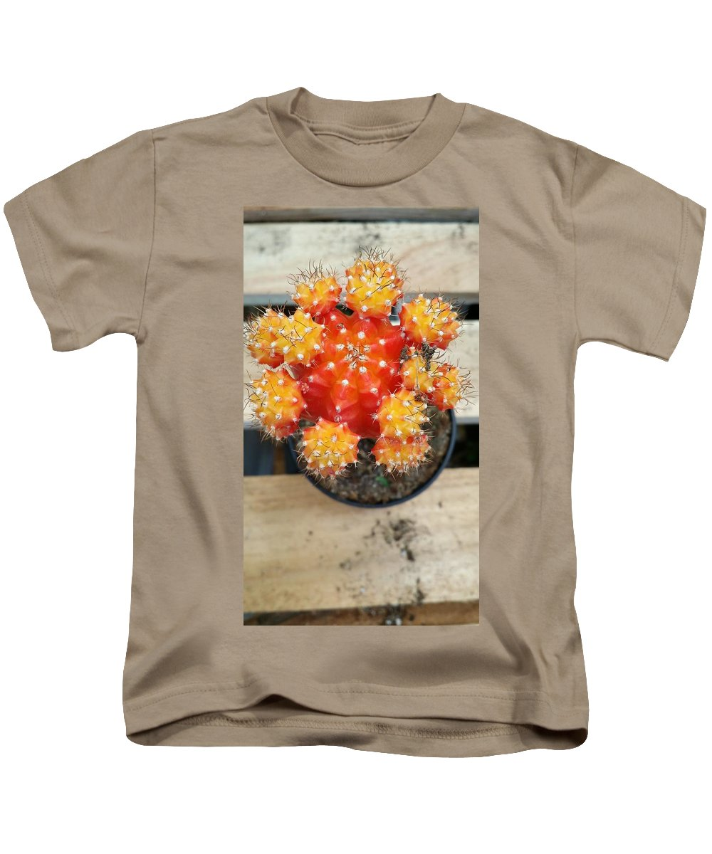 Still Life Kids T-Shirt featuring the photograph Cactus Orange by Mark Victors