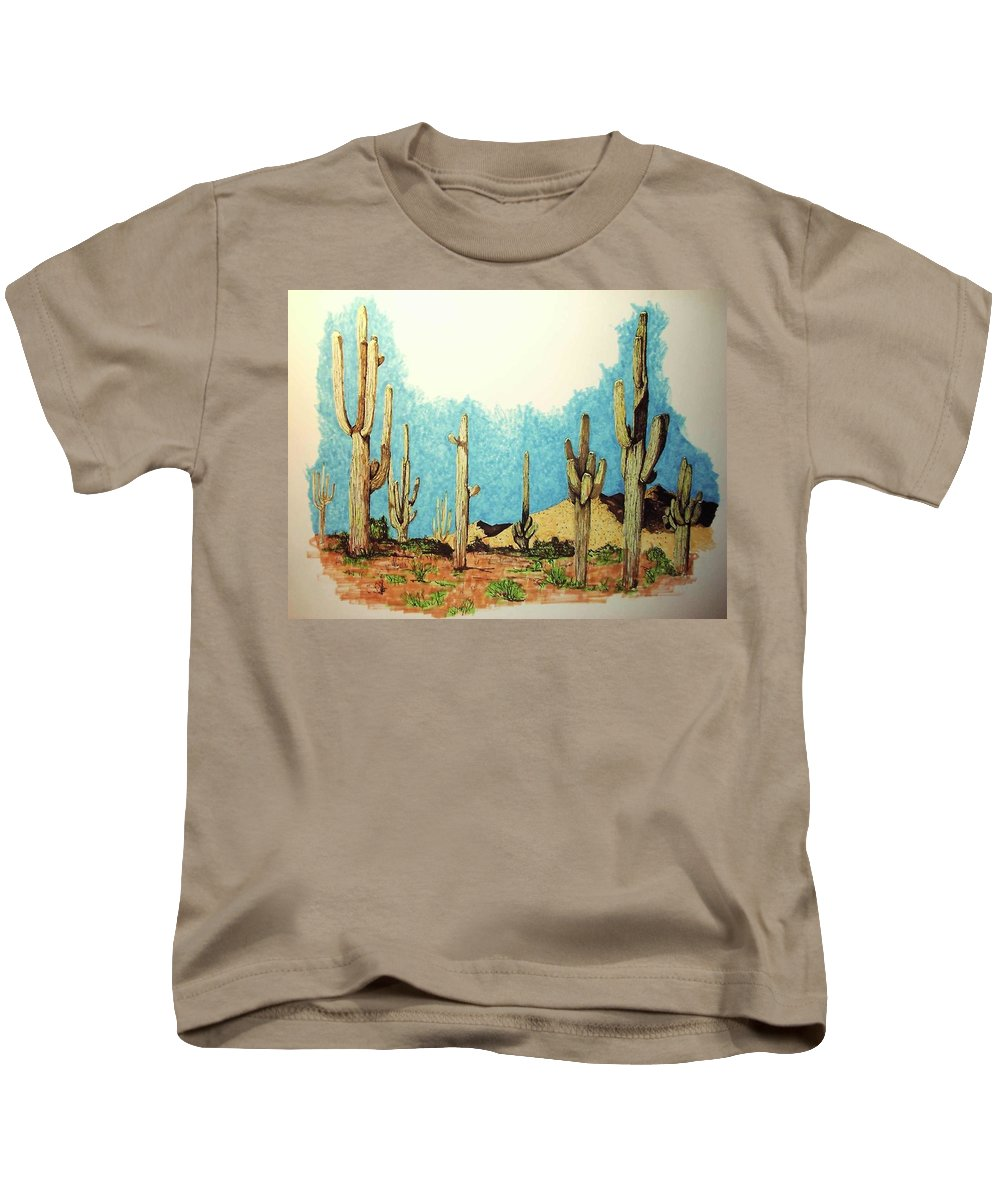 Cactus Kids T-Shirt featuring the drawing Cactus With A 'tude by Mel Murphy