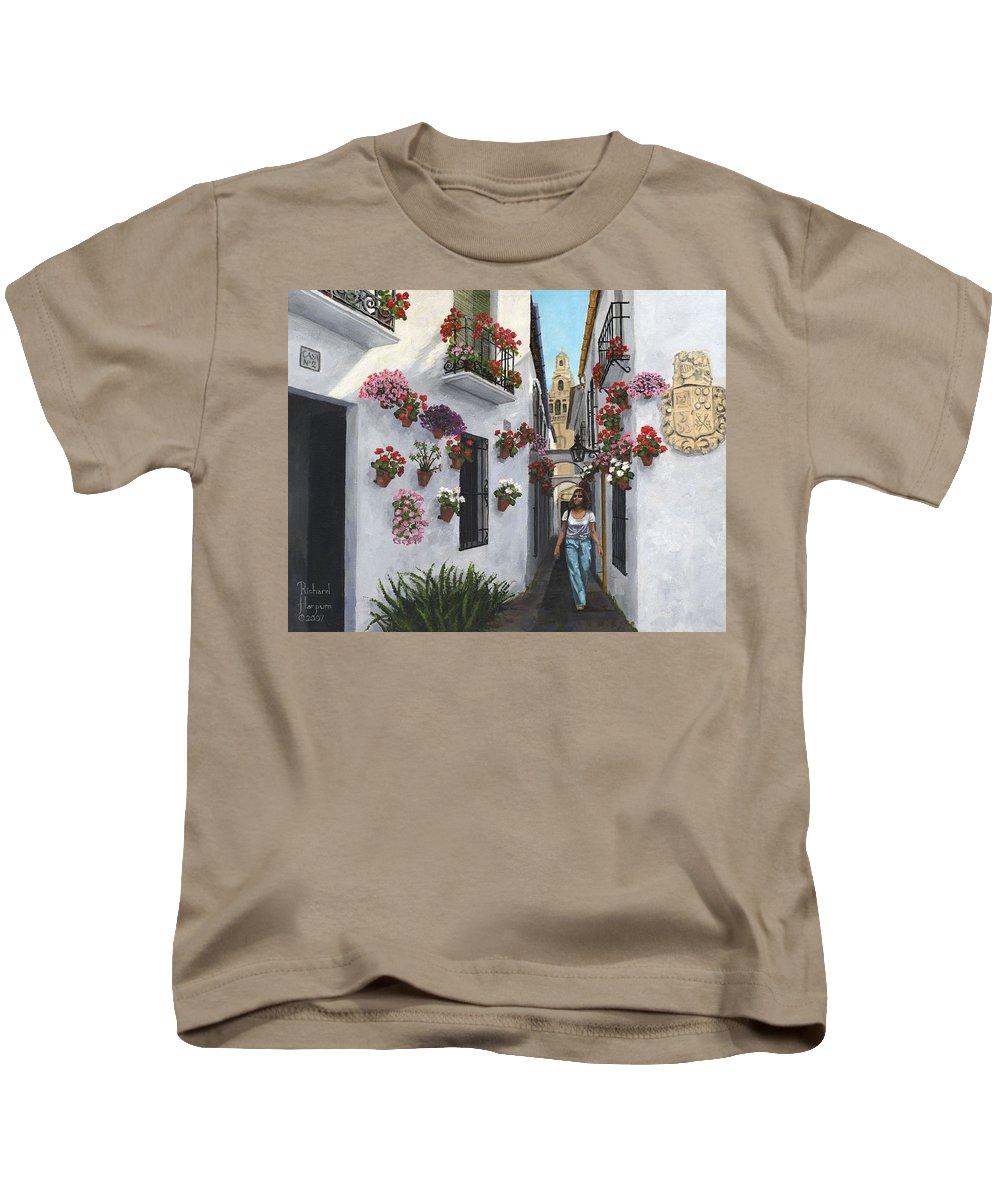 Landscape Kids T-Shirt featuring the painting Calleje De Las Flores Cordoba Spain by Richard Harpum