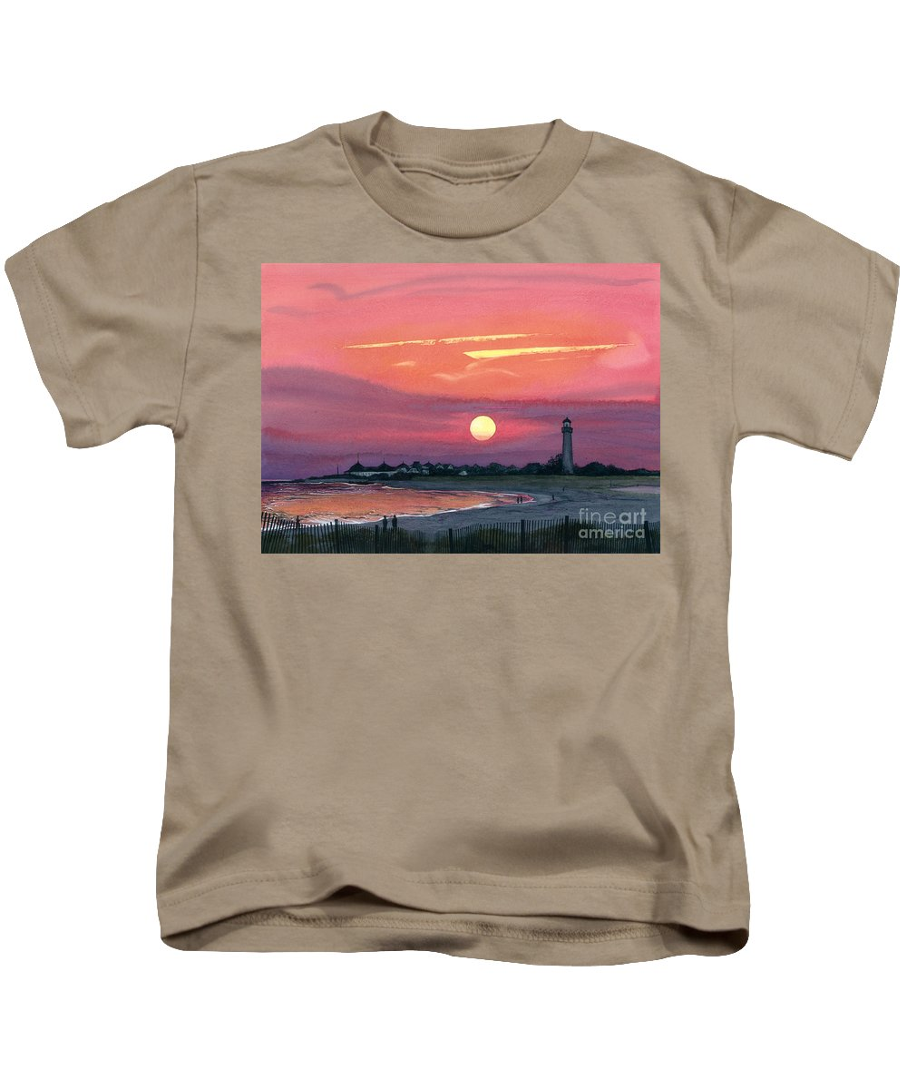 Water Color Paintings Kids T-Shirt featuring the painting Cape May Sunset by Barbara Jewell