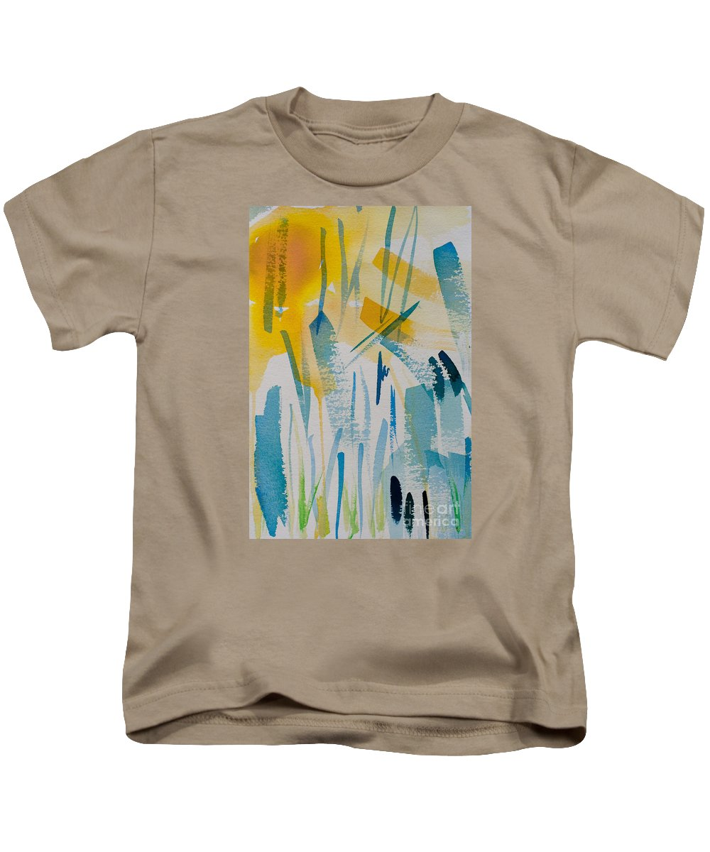 Abstract Kids T-Shirt featuring the painting Cattail Sun by Barbara McMahon