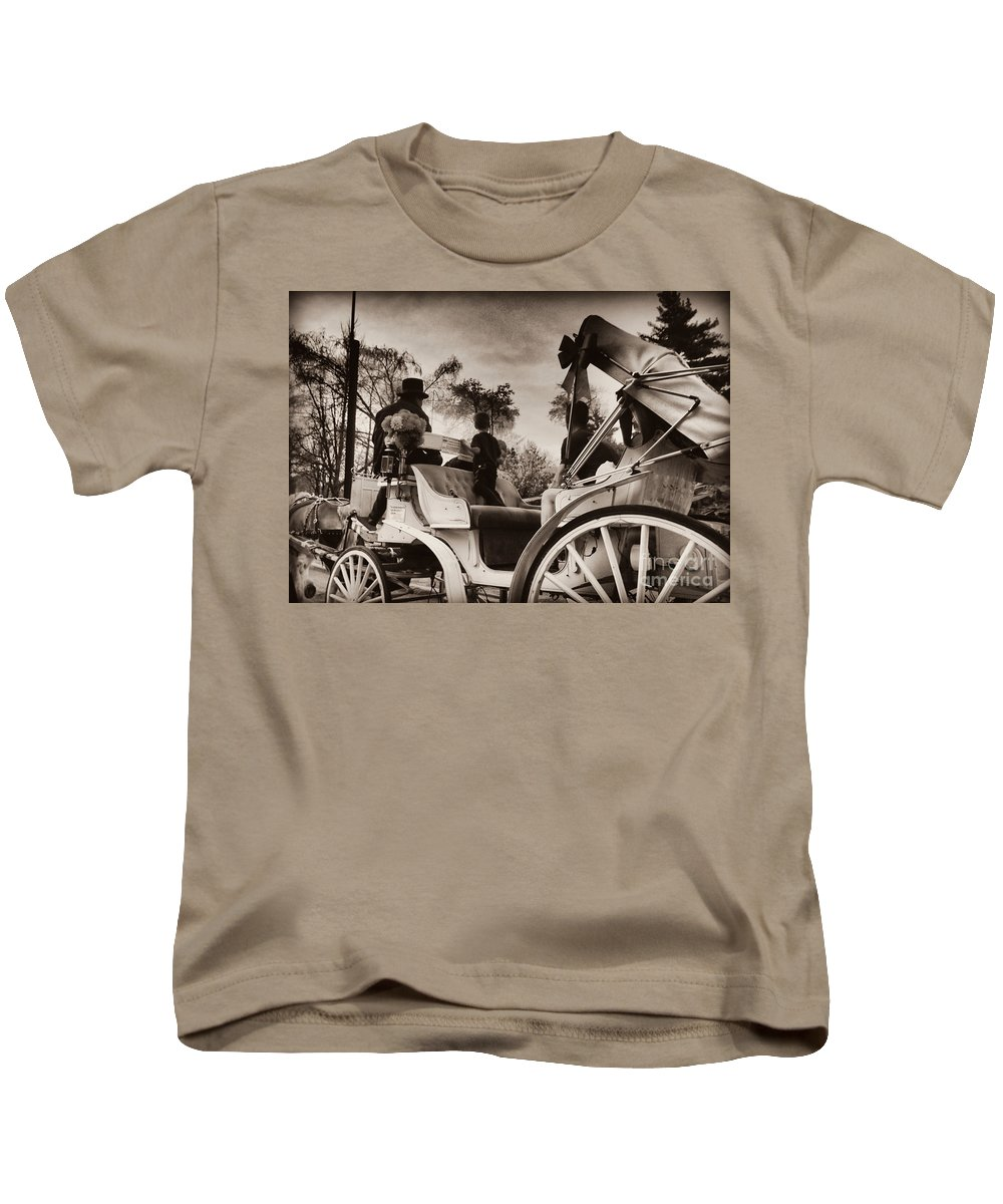 Central Park Kids T-Shirt featuring the photograph Central Park Carriage Ride - Antique Appeal by Miriam Danar