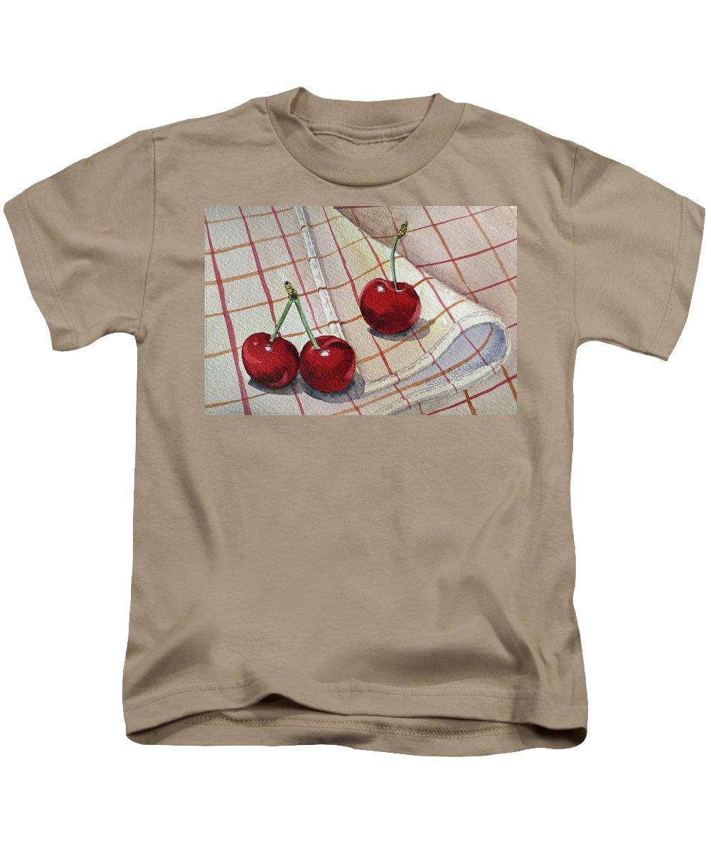 Watercolor Paintings Kids T-Shirt featuring the painting Cherry Talk By Irina Sztukowski by Irina Sztukowski