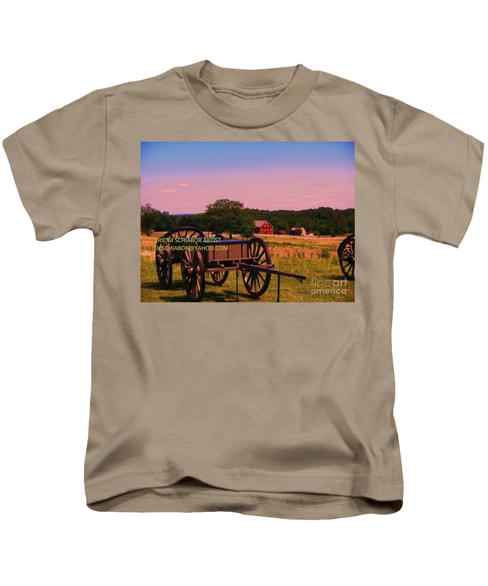 Civil War Kids T-Shirt featuring the photograph Civil War Caisson At Gettysburg by Eric Schiabor