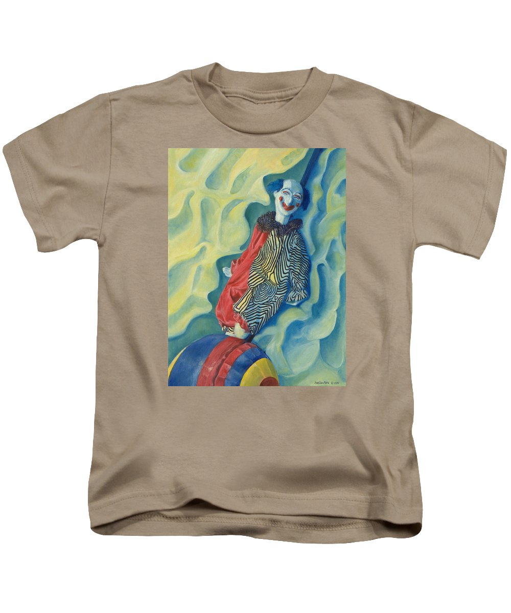 Clown Kids T-Shirt featuring the painting Clever by Dario Pinto