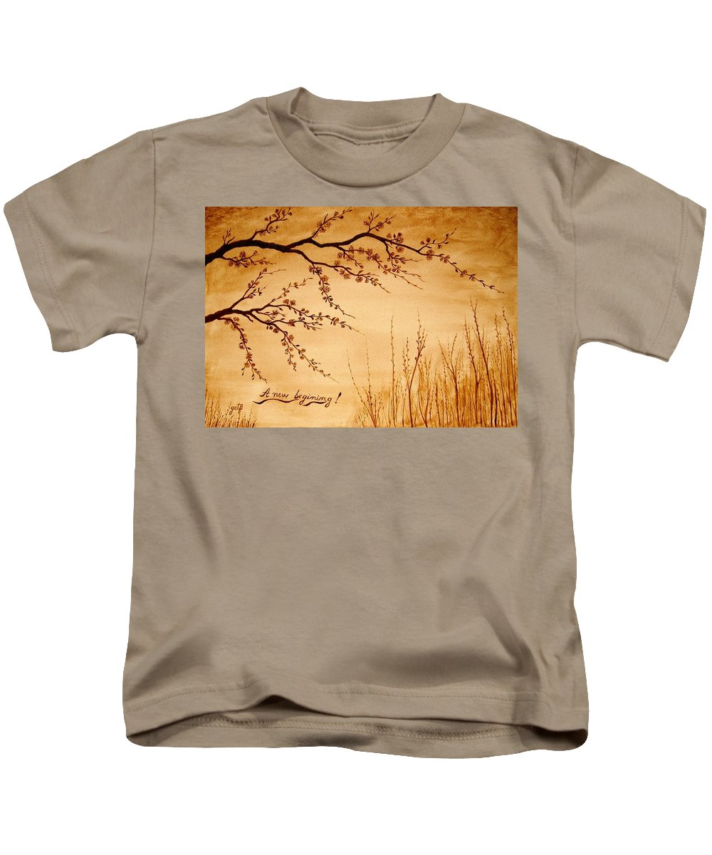 Coffeepainting Cherry Lowers Blossomimg Kids T-Shirt featuring the painting Coffee Painting Cherry Blossoms by Georgeta Blanaru