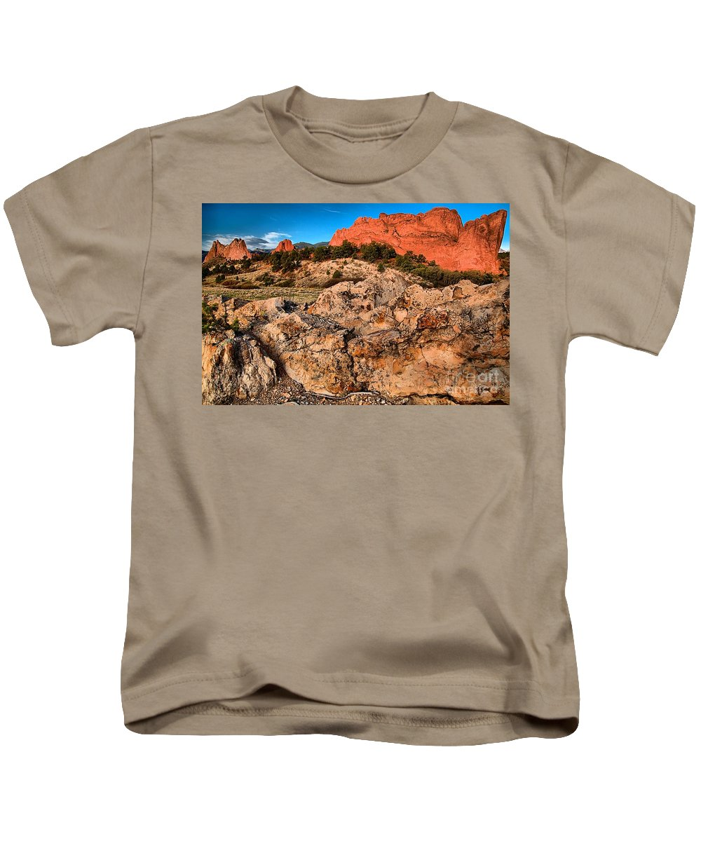 Sunrise At Garden Of The Gods Kids T-Shirt featuring the photograph Colorado Springs Icon by Adam Jewell