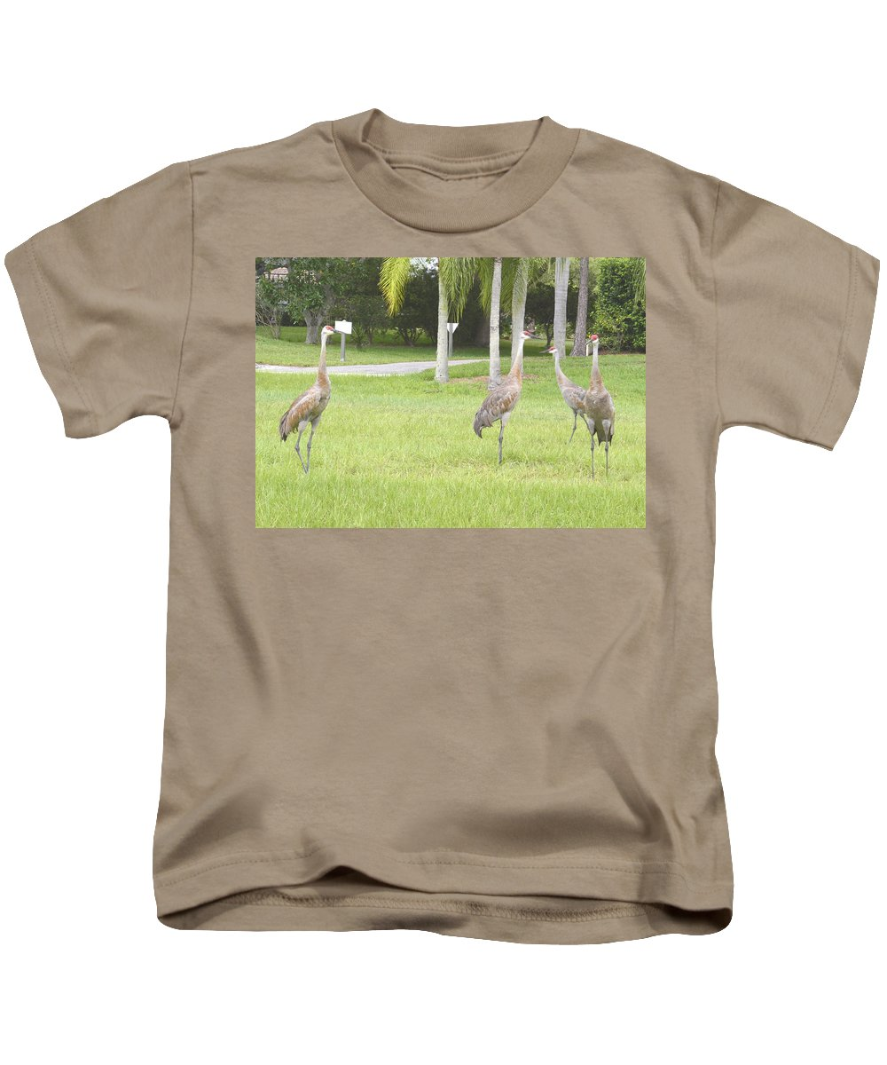 Sandhill Crane Kids T-Shirt featuring the photograph Comming by To-Tam Gerwe