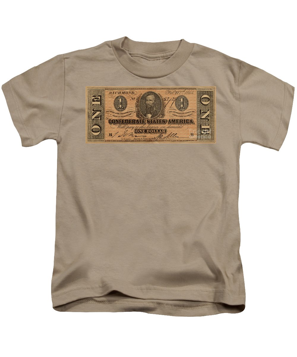 Confederate Kids T-Shirt featuring the photograph Confederate Dollar Bill by Paul W Faust - Impressions of Light