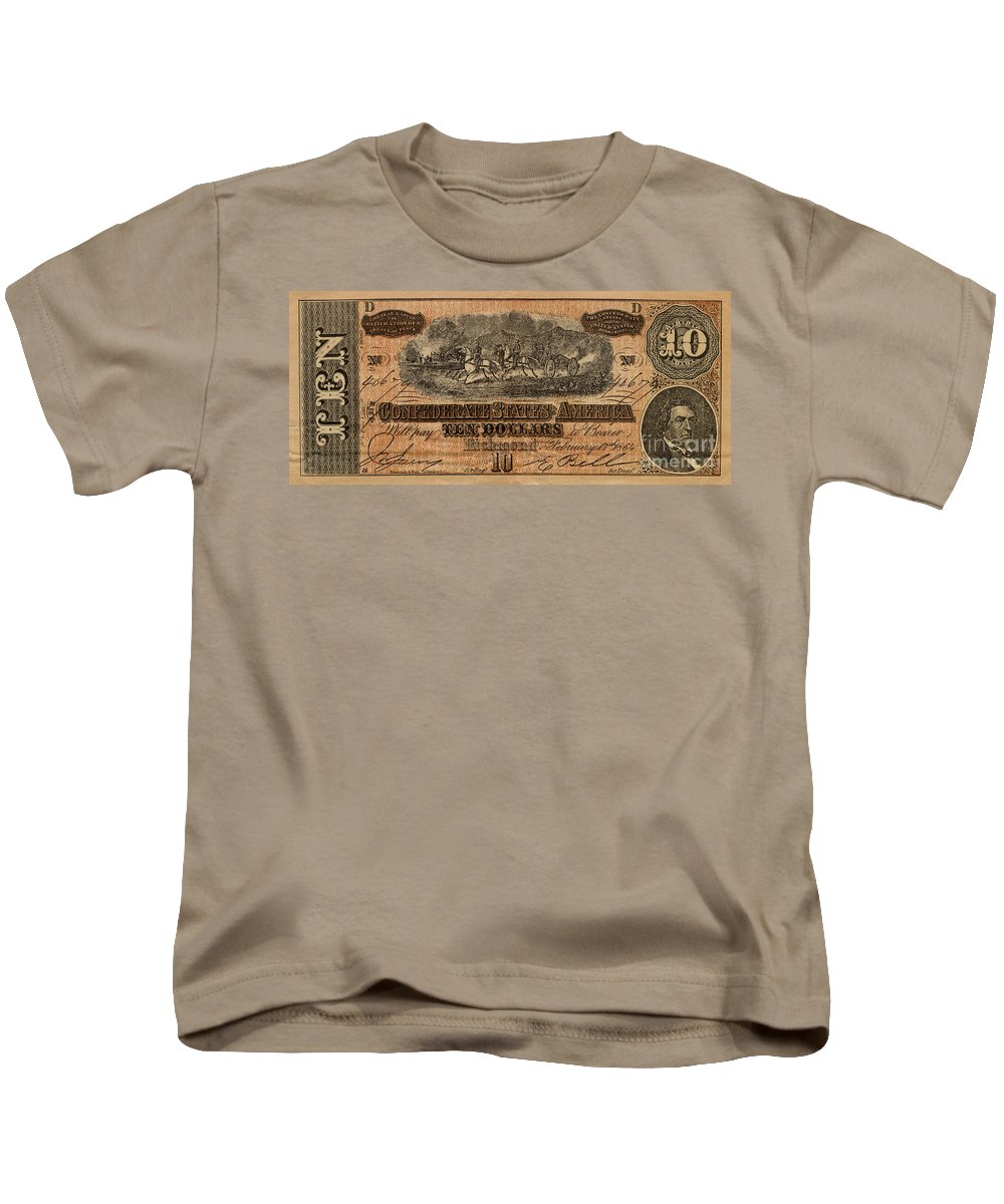 Confederate Kids T-Shirt featuring the photograph Confederate Ten Dollars by Paul W Faust - Impressions of Light