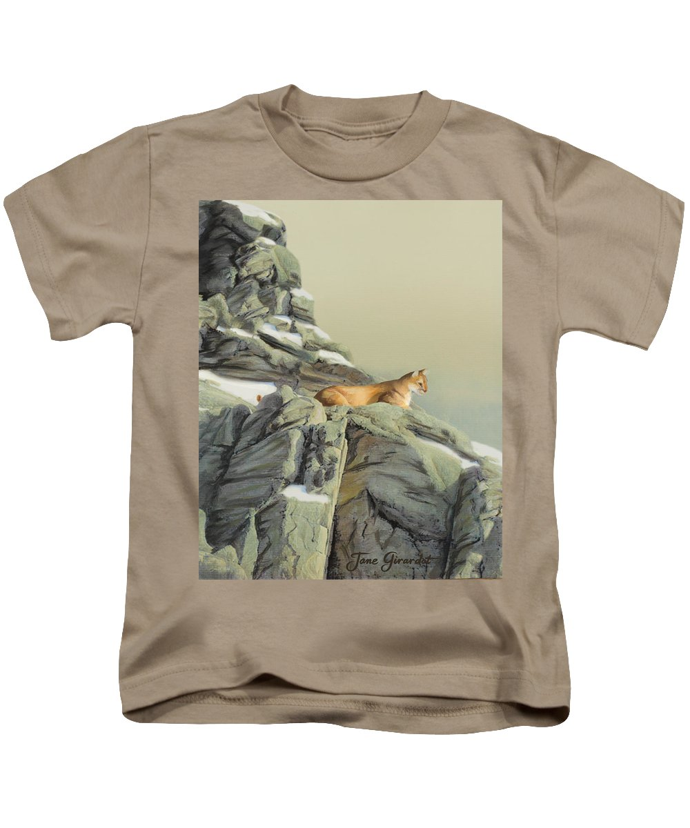 Cougar Kids T-Shirt featuring the painting Cougar Perch by Jane Girardot