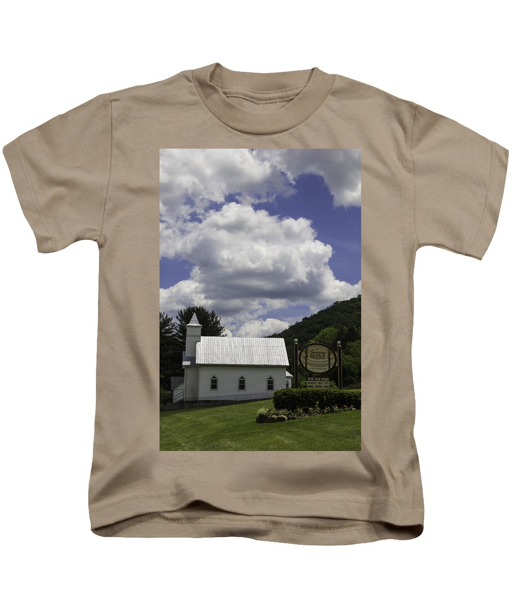 Clouds Kids T-Shirt featuring the photograph Country Church And Sign by Teresa Mucha