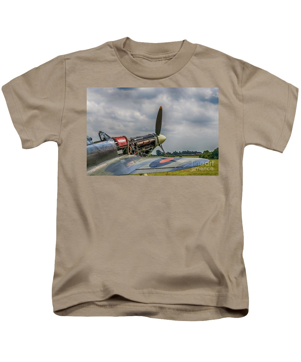 Hawker Hurricane Canvas Kids T-Shirt featuring the photograph Covers Off Hawker Hurricane by Chris Thaxter