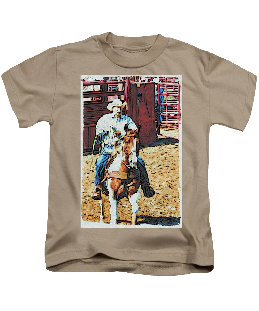 Horse Kids T-Shirt featuring the photograph Cowboy On Paint by Alice Gipson