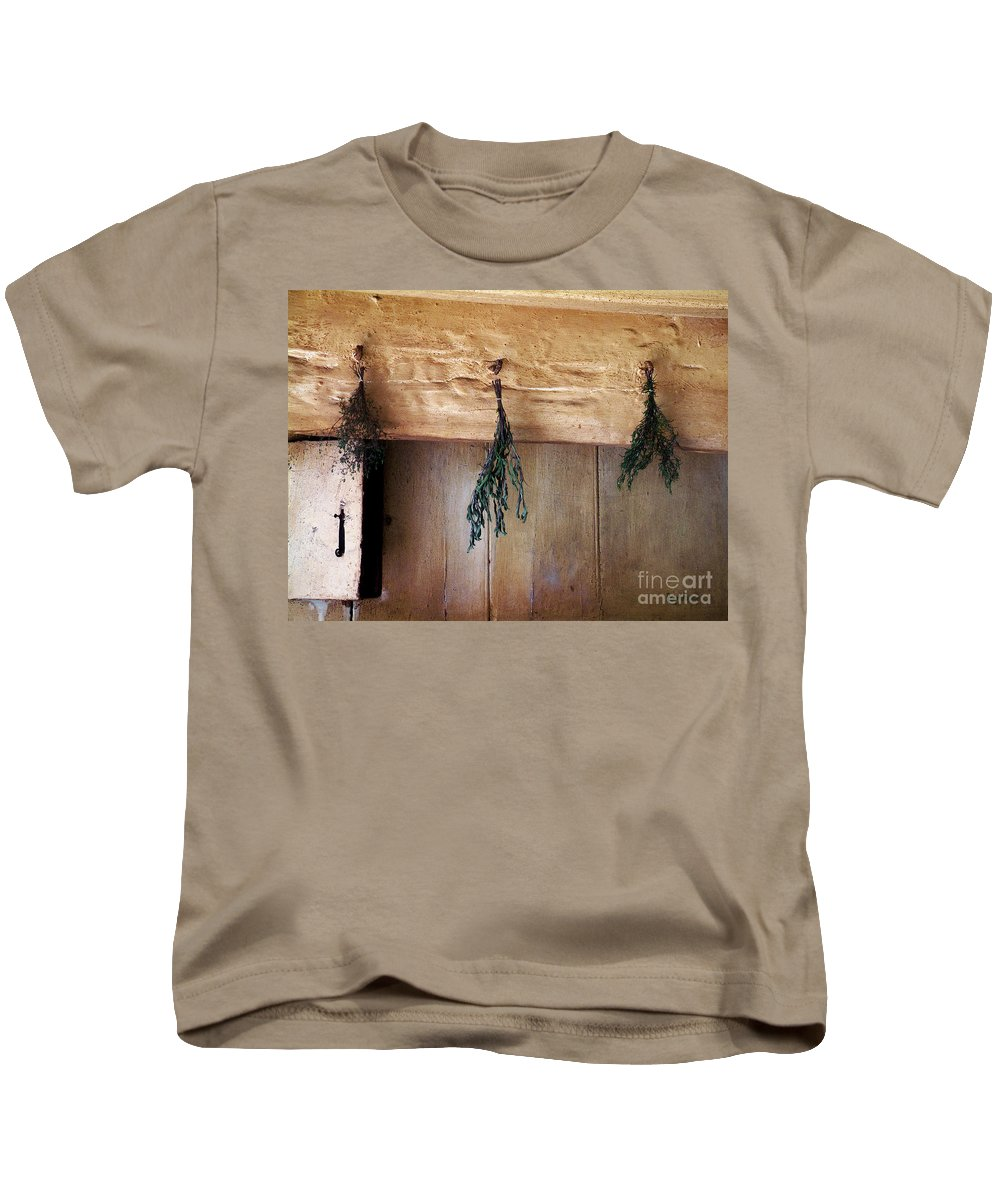 Herbs Kids T-Shirt featuring the painting Crossbeam With Herbs Drying by RC DeWinter