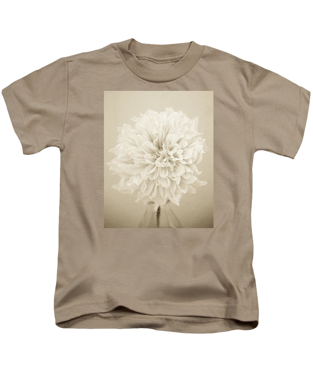 Dahlia Kids T-Shirt featuring the photograph Dahlia In Sepia by Stephanie Hogue
