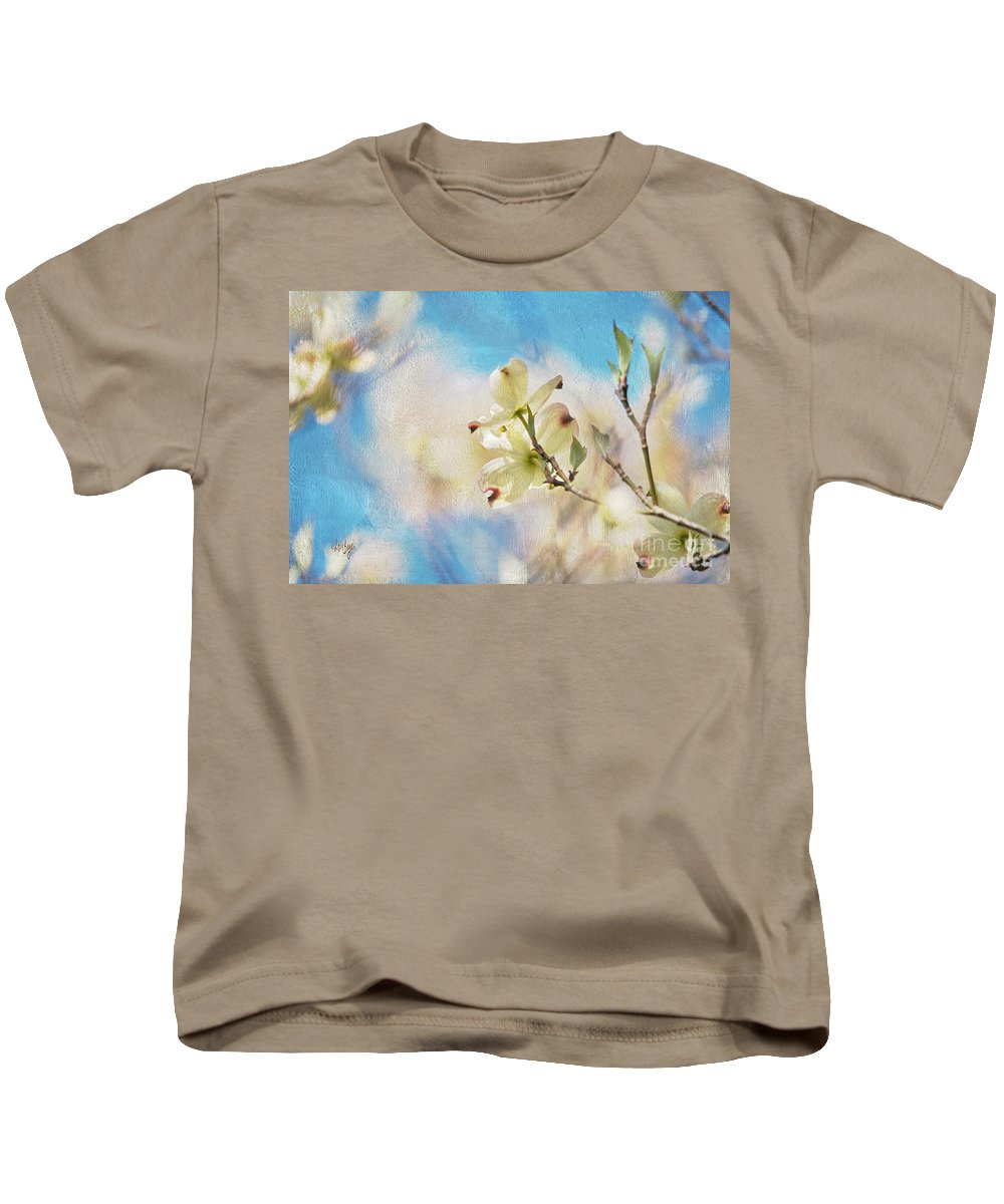 Dogwood Kids T-Shirt featuring the photograph Dogwood Against Blue Sky by Lois Bryan